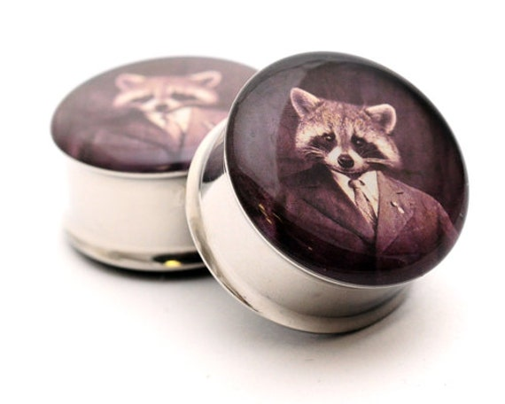 Raccoon Tycoon Picture Plugs gauges - 16g, 14g, 12g, 10g, 8g, 6g, 4g, 2g, 0g, 00g, 7/16, 1/2, 9/16, 5/8, 3/4, 7/8, 1 inch