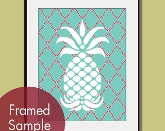 Pineapple - Art Print (Featured in Robins Egg and Ruby Red) Modern Vintage Inspired Kitchen Prints (Customizable Colors)