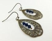 Dark Blue Teardrop Earrings Antiqued Brass Filigree Crystal Sapphire Blue Earrings