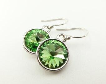 Peridot Earrings August Birthstone Jewelry Crystal Peridot Birthstone Earrings Dangle Earrings Sterling Silver