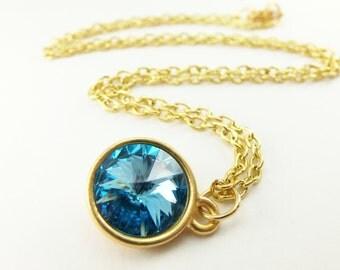 Gold Aqua Birthstone Pendant Aquamarine Crystal Necklace March Birthday Yellow Gold Pendant