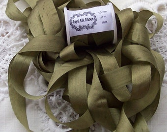 Pure Silk Ribbon 13mm 1/2 inch wide 10 yards Golden/Olive  Color