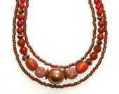 "MURANO EGYPTIAN INSPIRED triple strand necklace 20"", Indonesian mosaic beads, Venetian bronze,coral,rust,red,apricot,dusty pink"