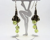 Sterling Silver and Swarovski Crystals Spring Green Dangles on Etsy