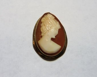 Victorian 18K Gold Carved Shell Cameo Brooch on Etsy