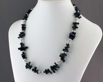 Black Coral, Gray Pearls and Silver Crystal Necklace