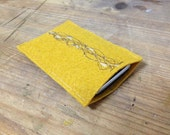 Handmade iPhone  pouch upcycled material yellow ochre embroidery - elquiltro