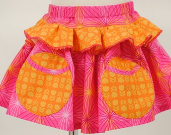 Girl's Ruffled Skirt, Tiered Skirt, Girl Twirly Skirt, Girl Skirt, Children, Girl Clothing, Size 2 3 4 5 6 7 8, Pink skirt, Orange