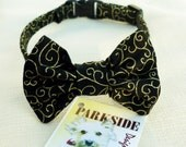 Cat Bow Tie Collar With Metalic Gold Swirls