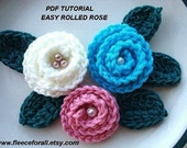CROCHET pattern flower FF26 , Super Easy Rolled  Rose. make them any size  - Instant Download
