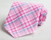 The Beau- men's pink/fuchsia/navy plaid necktie