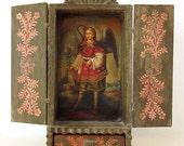 Cusco Retablo Wood Religious Art Shrine, Miniature Oil Painting