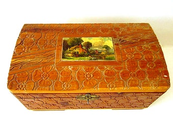 Vintage Carved Wood Box with Mirror Wood Jewelry Chest Vintage Storage
