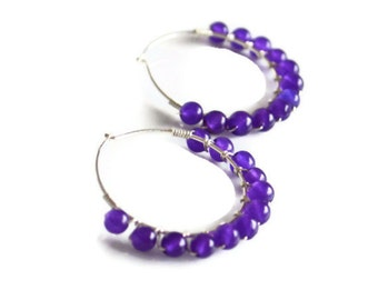 Amethyst and sterling silver wire wrapped hoop earrings