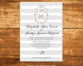 Stripe Wedding Invitation, Striped, Wreath, Flower Wreath, Floral Wreath, Garland, Rustic, Outdoor, Garden Wedding