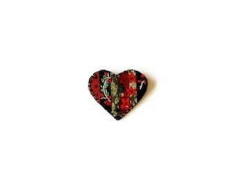 Wool brooch heart  red green strip-piecing on black