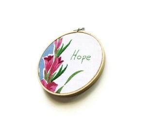 Hoop art/blue raspberry green floral vintage cloth embroidered