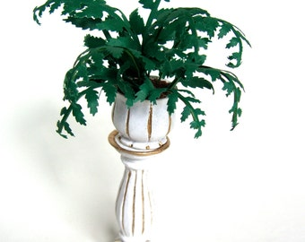 PLANT VICTORIAN FERN In white & gold planter dolls house miniature flower 12th