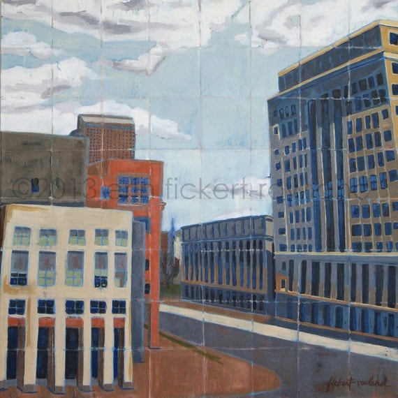Modern Abstract Cityscape Painting-DAM City View-Original Oil on Canvas by Erin Fickert-Rowland