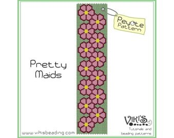 Peyote Bracelet Pattern: Pretty Maids -  INSTANT DOWNLOAD pdf - Save when you buy more - bp99