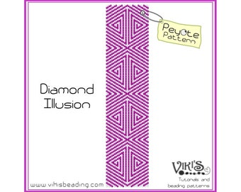 Diamond Illusion - Peyote Beading Pattern for cuff bracelet - INSTANT DOWNLOAD pdf - New coupon codes