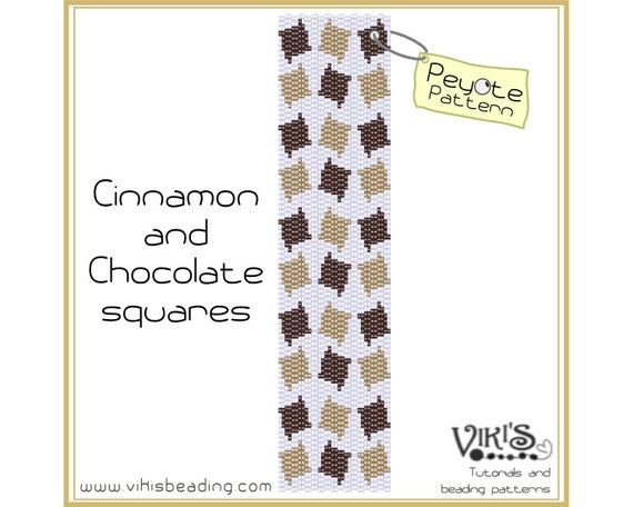 Peyote Bracelet Pattern: Cinnamon and Chocolate squares - INSTANT DOWNLOAD pdf - Discount with coupon codes