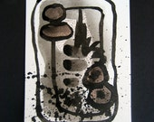 Art Painting Original Abstract Painting Black and White Modern Contemporary Ink Painting 24 by Julie Steiner