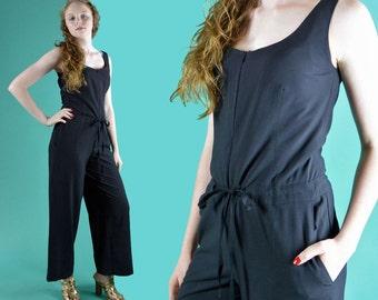 Vintage 90s Black Jumpsuit / Sleeveless Womens Jumpsuit / One Piece Wide Leg Designer Jumpsuit Drawstring Waist Zipper Front Jumpsuit S