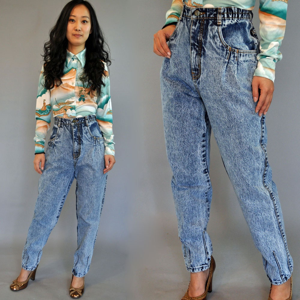 80s vintage HIGH waisted jeans / Gitano ACID WASH Jeans
