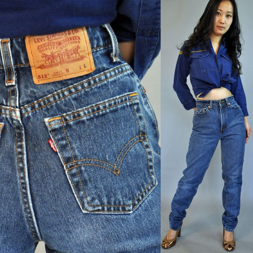 vintage 80s high waisted jeans / Womens LEVIS 512 denim