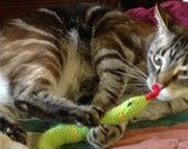 FREE SHIPPING High quality Organic Catnip and Valerian Cat Toy SNAKE by Catopia9, hand-crochet, wool/bamboo mix