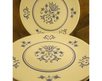 Blue & White Folk Art Vintage Provincial Dinner Plates by Sheffield - Set of 2