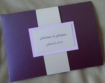 Purple pocket fold invitation, ivory wedding invitation, elegant invitation, modern invitation, pocket invitation