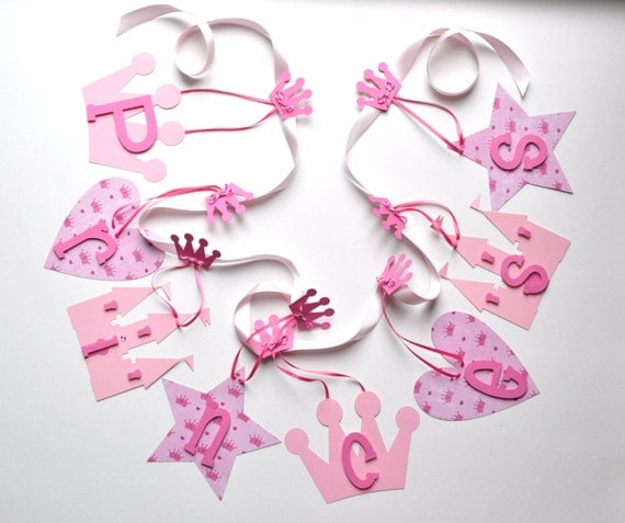 Pink Princess baby shower decorations for girls by ParkersPrints