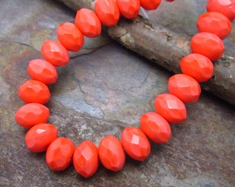 Coral Red 6x8mm Rondells