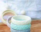cream cinnabar style pastel resin bangle