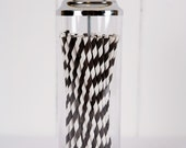 Paper Straws - Made in the USA - Black and White Striped - 25 Drinking Straws - Great for Birthday Parties & Baby Showers