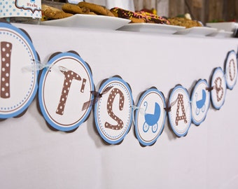 Baby Shower Decorations - IT'S A BOY Baby Shower Banner - Carriage Theme Baby Shower Decorations in Blue and Brown