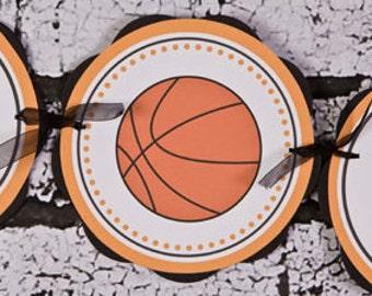 Basketball IT'S A BOY Baby Shower Banner, Basketball Baby Shower Banner, Basketball Party Decorations in Orange & Black