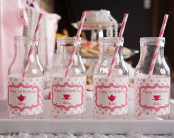 Tea Party Birthday Water Bottle Labels - Tea Party Birthday Party Decorations in Hot & Light Pink (12)