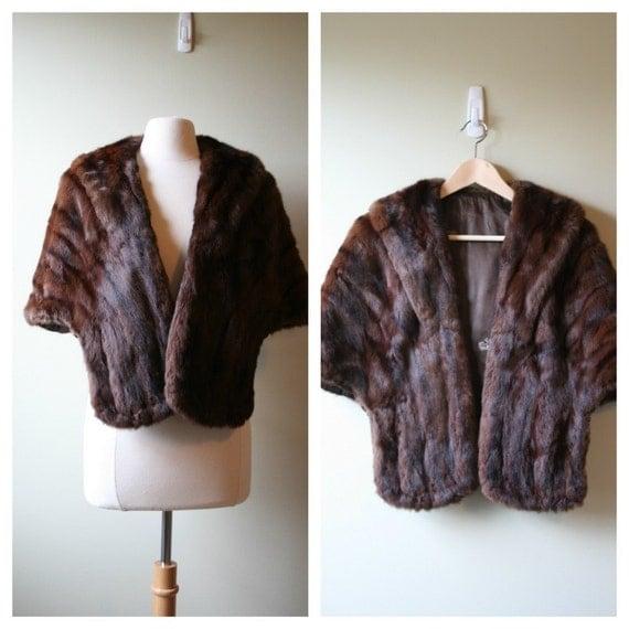 1950s vintage brown dyed mink fur stole/cape
