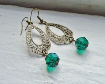 Emerald Green Earrings. May Birthstone. Filigree Earrings. Lacey Earrings. Statement Earrings. Vintage Inspired. Statement Jewelry.