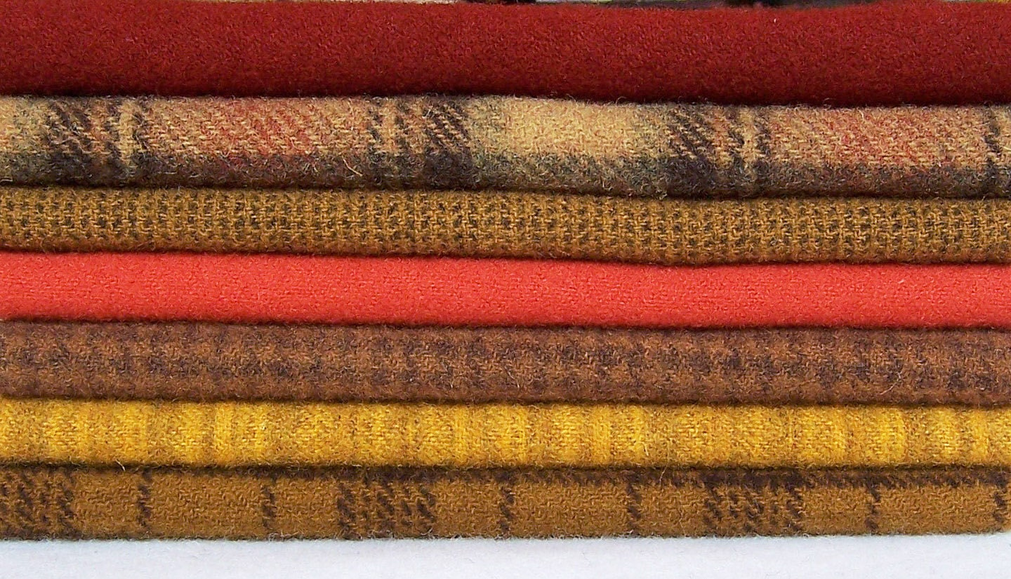 Hand Dyed Felted Wool Fabric Brown Orange By