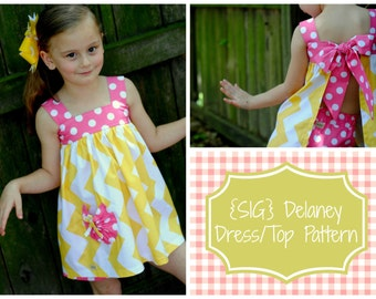"INSTANT DOWNLOAD SIG Delaney Dress/Top Pattern - Size Newborn to 8 Youth & 18"" Doll"