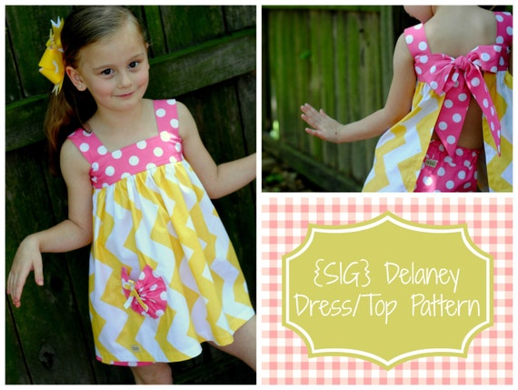 """INSTANT DOWNLOAD SIG Delaney Dress/Top Pattern - Size Newborn to 8 Youth & 18"""" Doll"""