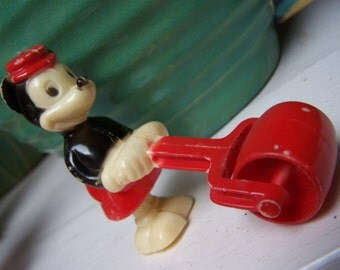 Mickey Mouse Ramp Walker Rolling Barrel Hong Kong Toy 1950s VINTAGE by Plantdreaming