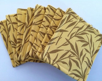 Set of 8 Reversible Fabric Coasters Buttercream and Brown
