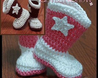 Crochet Pattern  Cowboy Boots TODDLER BOOT SCOOTN Boots digital