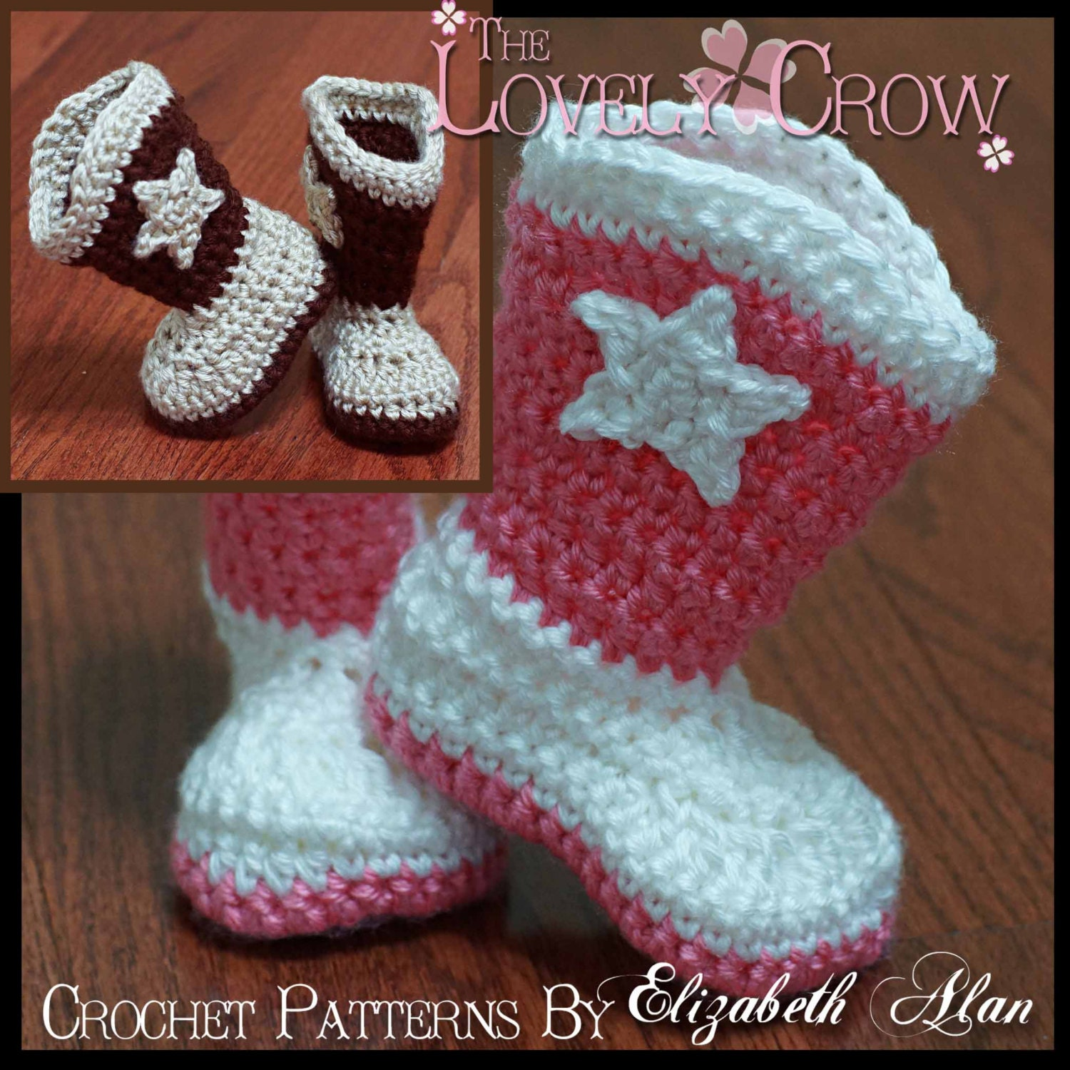Free Crochet Patterns For Baby Girl Bonnets : Crochet Pattern Cowboy Boots TODDLER BOOT SCOOTN Boots