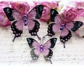 Lady Lavender Glitter Glass Butterflies for Scrapbooking, Cardmaking, Tag Art, Mini Album, Wedding, Altered Art